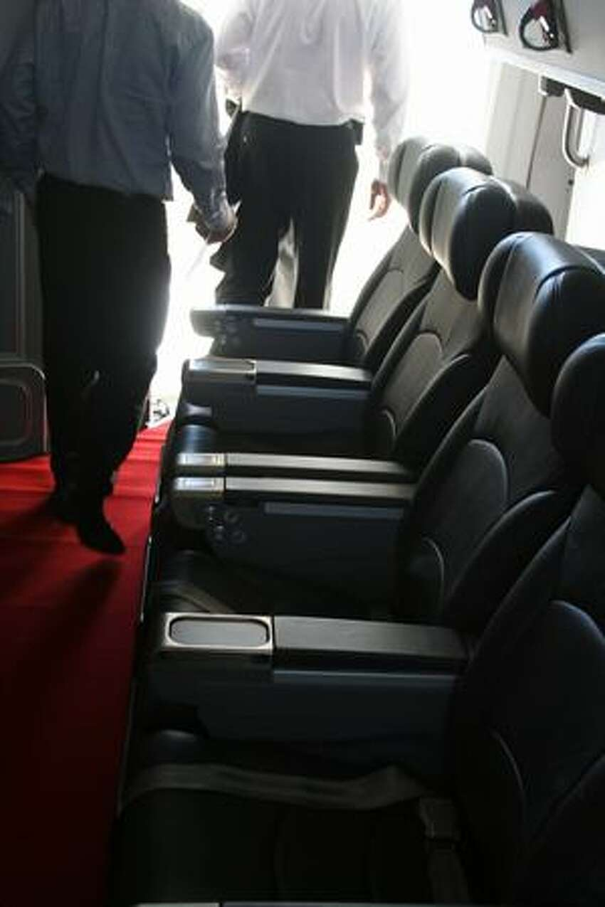 Seats behind the flight deck of the FedEx Express' Boeing 777 Freighter. Boeing delivered the freighter on Sept. 22, 2009.