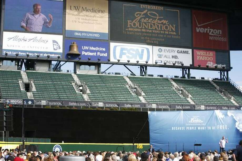 Glenn Beck speaks during Evergreen Freedom Foundation's Take the Field with Glenn Beck event at Safeco Field on Saturday. Photo: Joshua Trujillo, Seattlepi.com