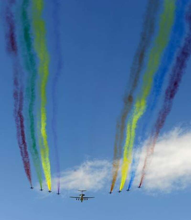 Chinese Air Force fighter jets fly over during the National Day parade in Beijing. Photo: Getty Images