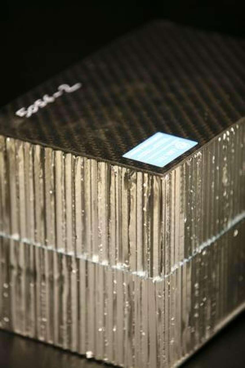 An example of composite material is on display at the Automobili Lamborghini Advanced Composite Structures Laboratory.