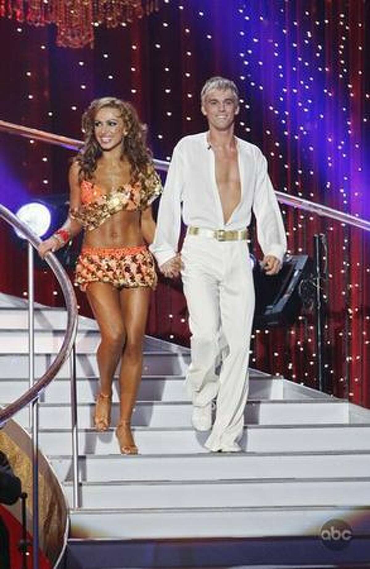 Professional dancer Karina Smirnoff and singer Aaron Carter.