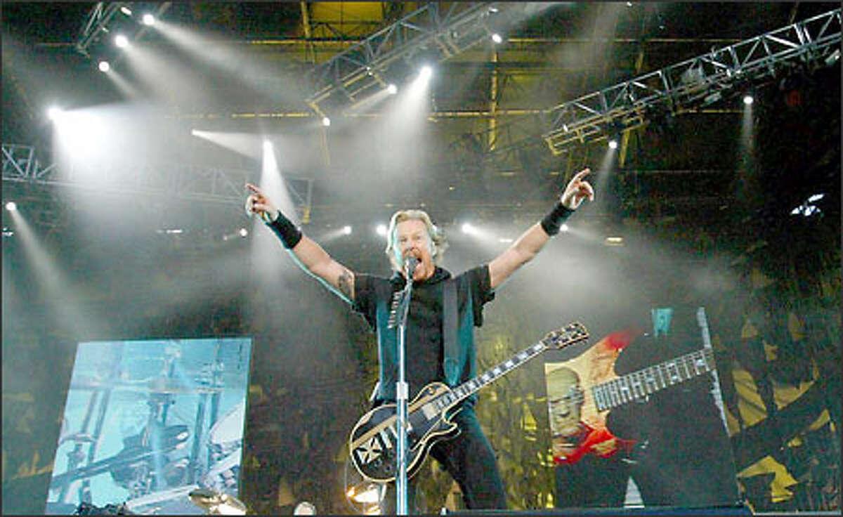 James Hetfield from Metallica at the Summer Sanitarium Tour at Seahawks Stadium.