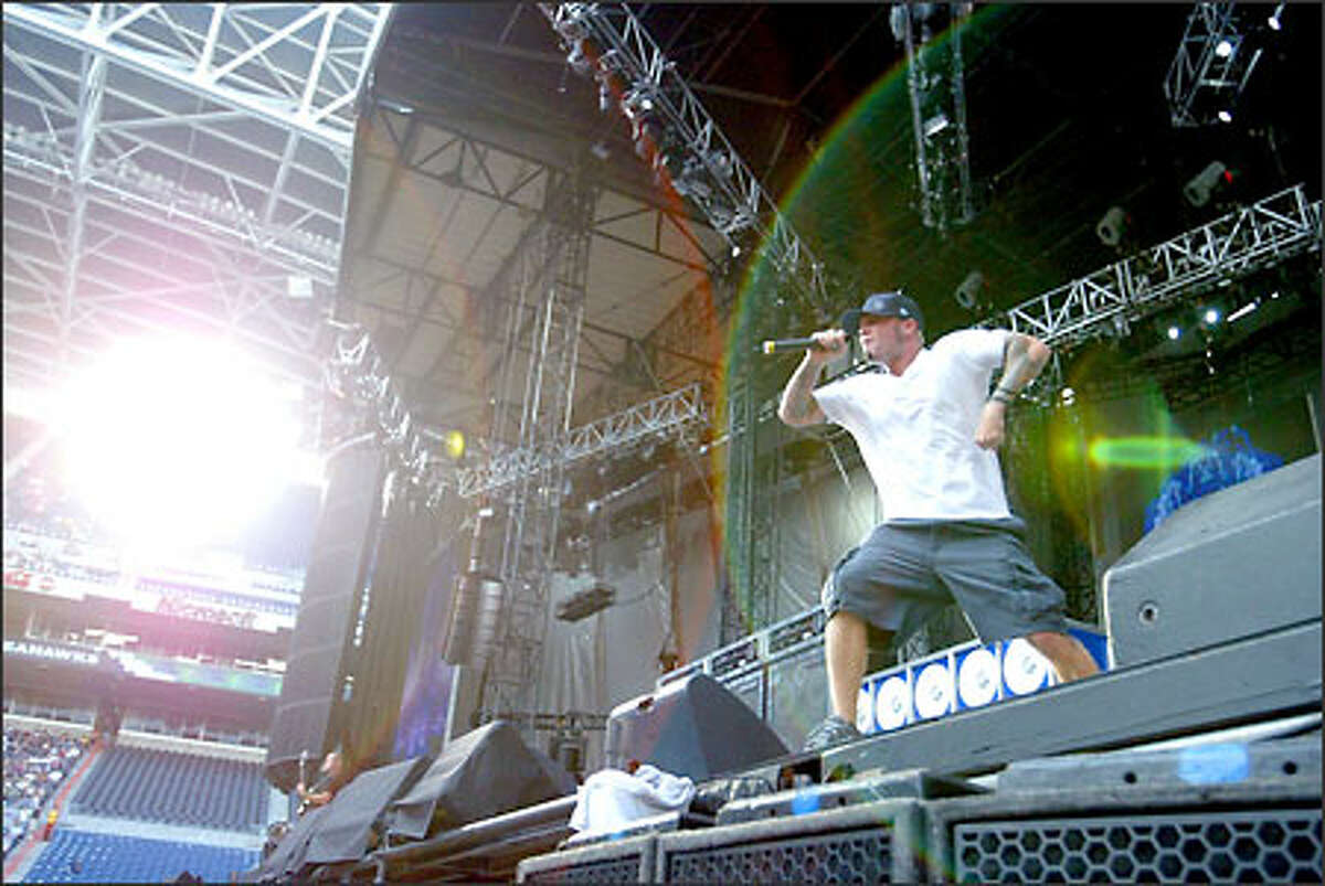Fred Durst of the band Limp Bizkit preforms at the Summer Sanitarium Tour featuring Metallica at Seahawks Stadium.