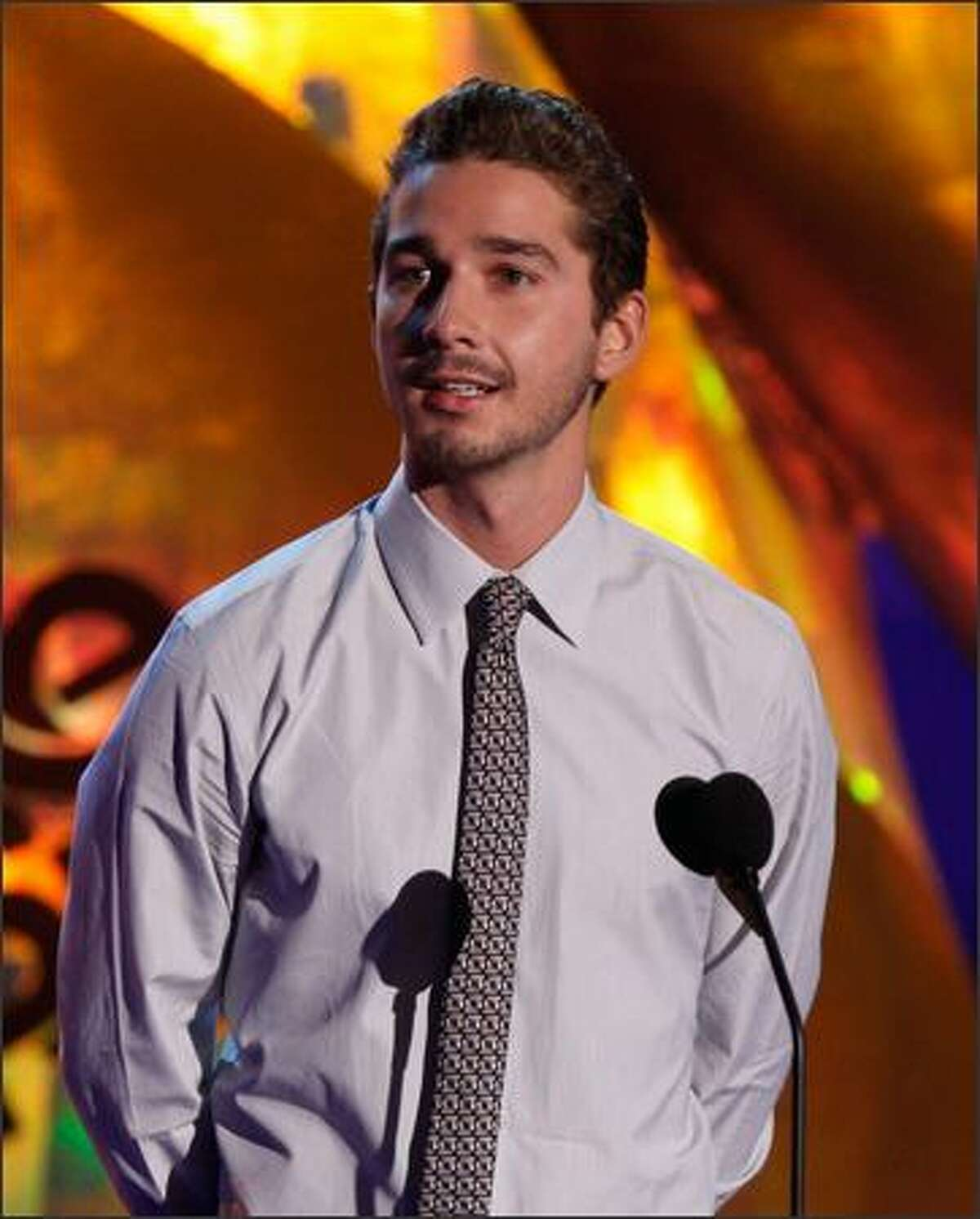 Actor Shia LaBeouf presents the Best Fight award onstage during the 18th Annual MTV Movie Awards held at the Gibson Amphitheatre on Sunday in Universal City, Calif.