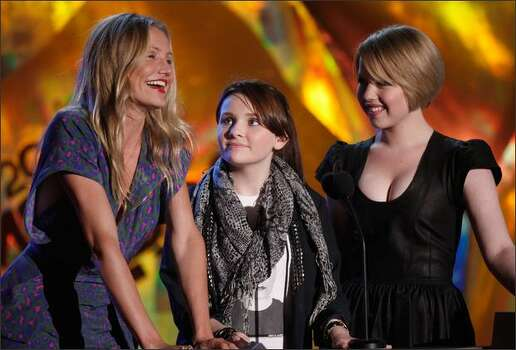 Left to right: Actresses Cameron Diaz, Abigail Breslin, and Sofia Vassilieva present the Best Female Performance award onstage during the 18th Annual MTV Movie Awards held at the Gibson Amphitheatre on Sunday in Universal City, Calif. Photo: Getty Images