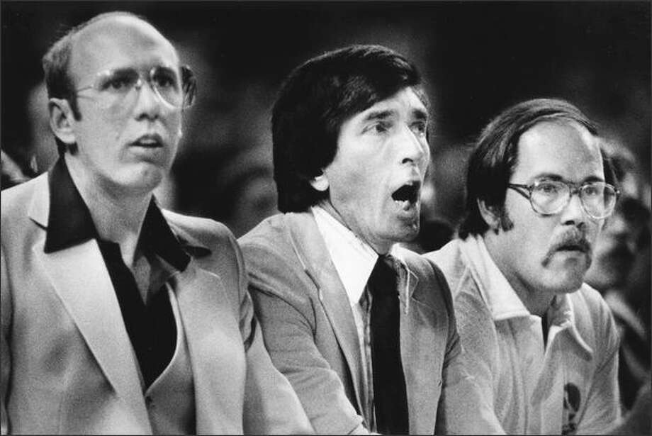 Supersonics assistant coach Bob Weiss, coach Gene Shue and trainer Larry Roberts in 1979. Photo: Seattlepi.com