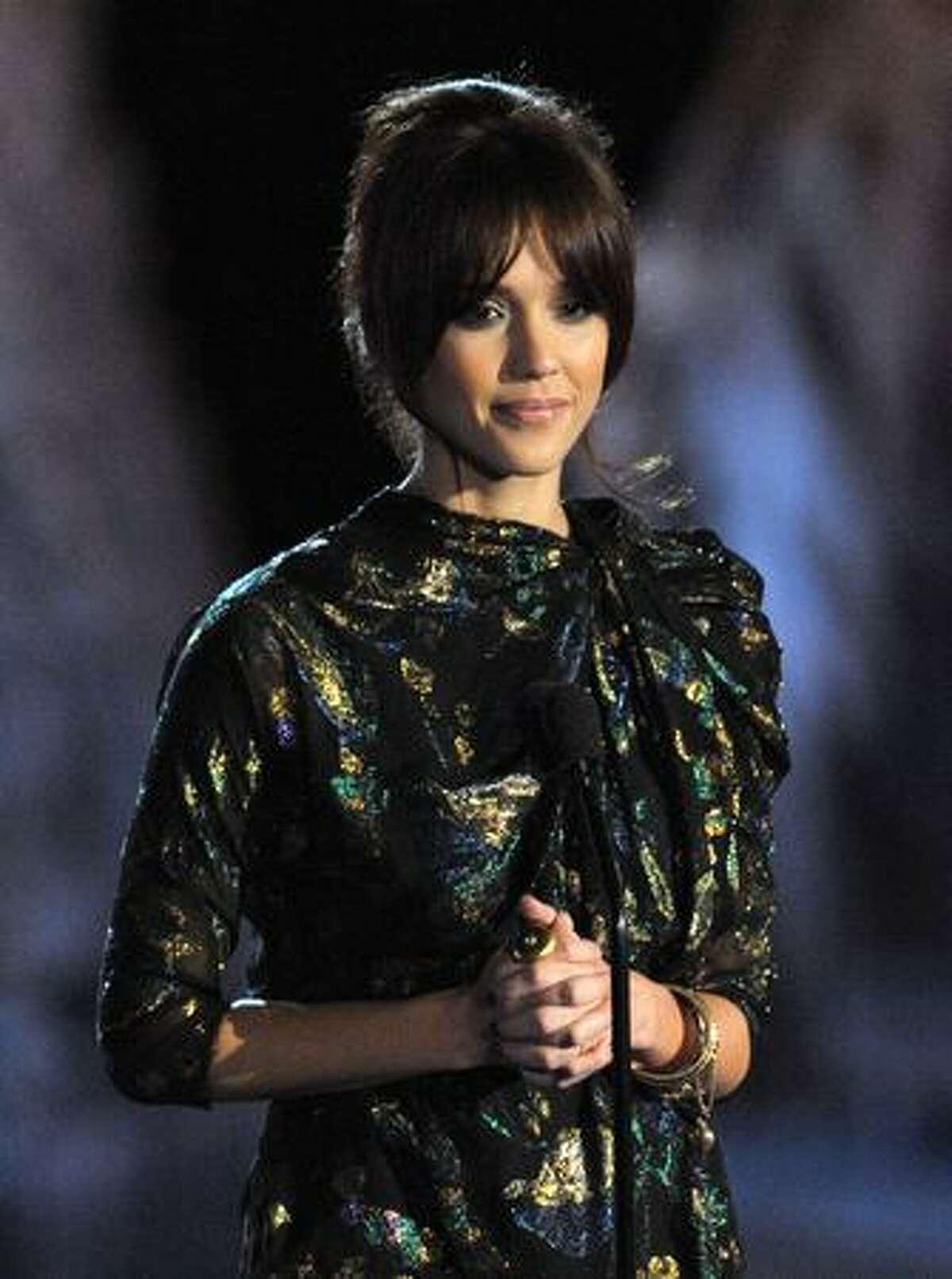 Actress Jessica Alba presents the Most Anticipated Fantasy Movie award.