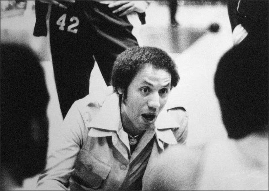 Sonic Coach Lenny Wilkens offered advice during a timeout early in the championship final game. The Seattle team heeded his words, grabbing the lead for good early in the second quarter. (seattlepi.com file)