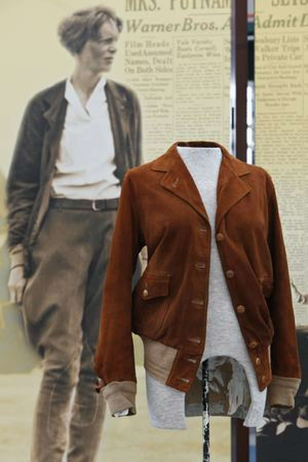 This jacket, on loan from Purdue University, is one of several Earthart artifacts that will go on display at The Museum of Flight on Otober 24, 2009.
