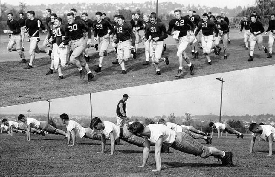 An Aug. 1945, practice scene. Photo: P-I File
