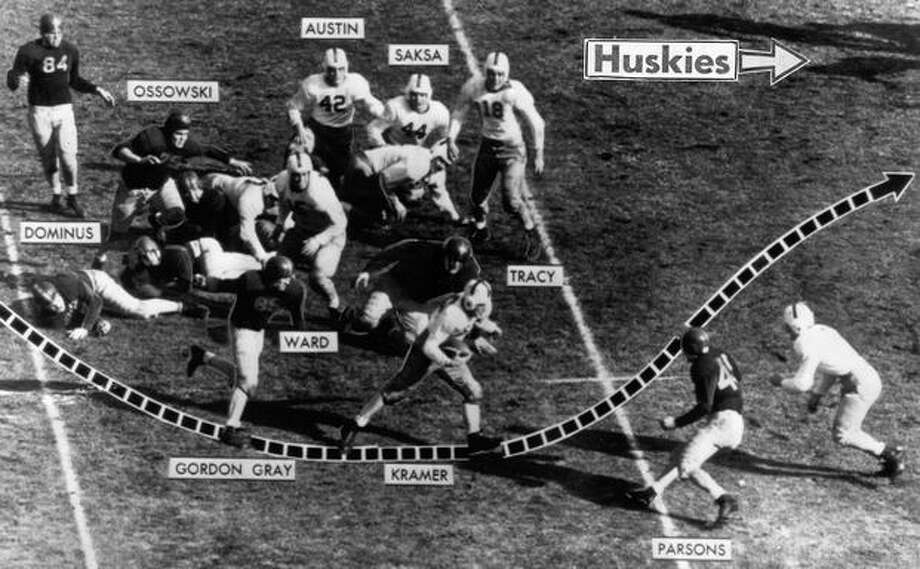 The Huskies run a 21-yard reverse play aginast UCS, Jan. 1944. Wally Kramer was the UW fullback. The Trojans won 29-0. Photo: P-I File