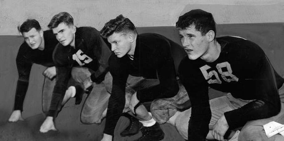 Four Husky linemen during the 1943 season. Photo: P-I File