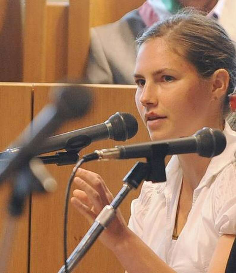 U.S.'s Amanda Knox, accused of killing her British housemate two-years ago, testifies for the first time during her trial on Friday in the courtroom in Perugia. Knox was testifying during this court session for the first time in her sex-murder trial, with the American accused of taking part in the 2007 killing of her British housemate Meredith Kercher in Italy. Photo: Getty Images