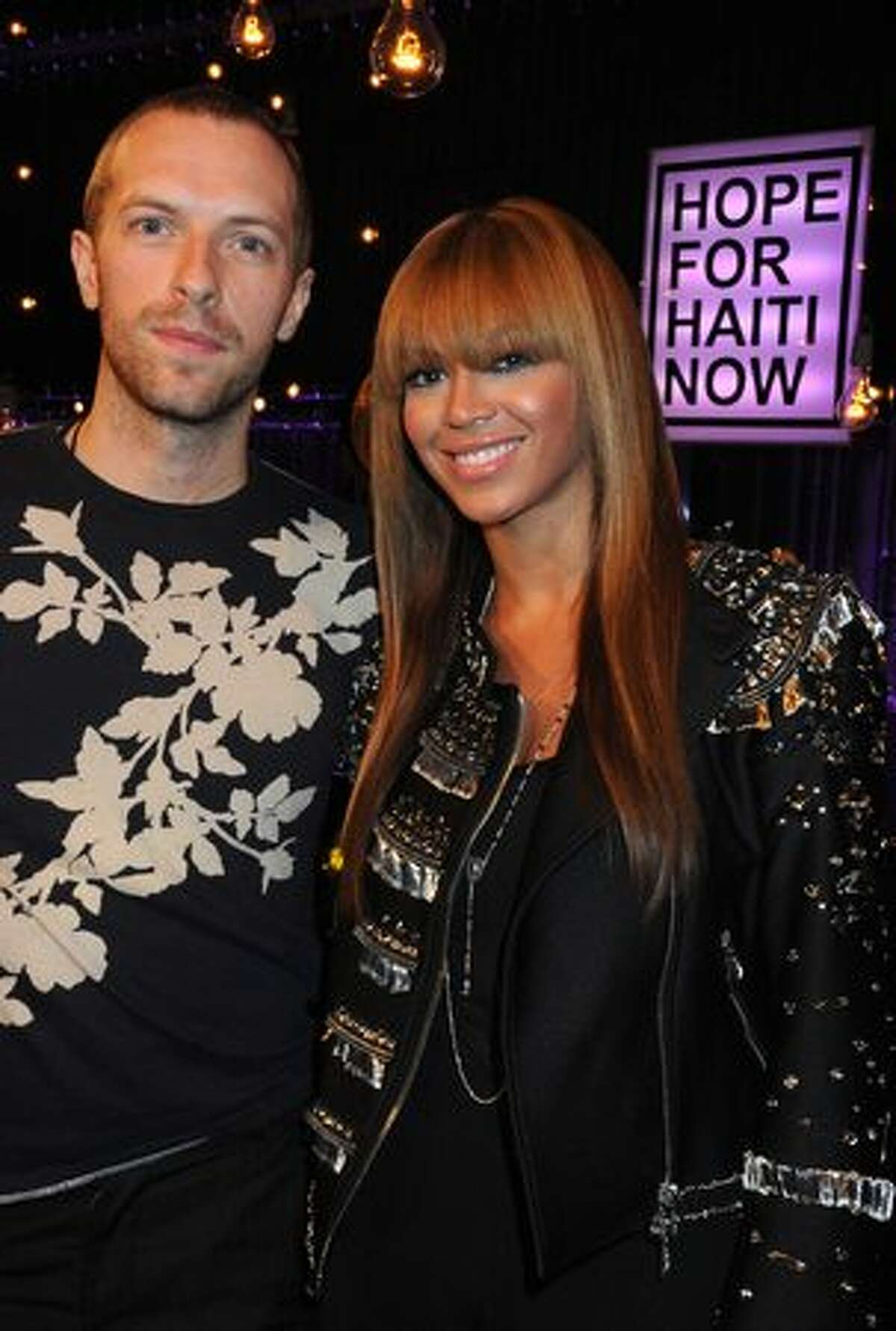 Chris Martin and Beyonce Knowles attend the Hope For Haiti Now concert in London.