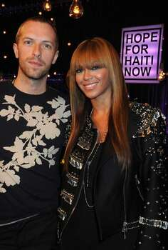 Chris Martin and Beyonce Knowles attend the Hope For Haiti Now concert in London. Photo: Getty Images