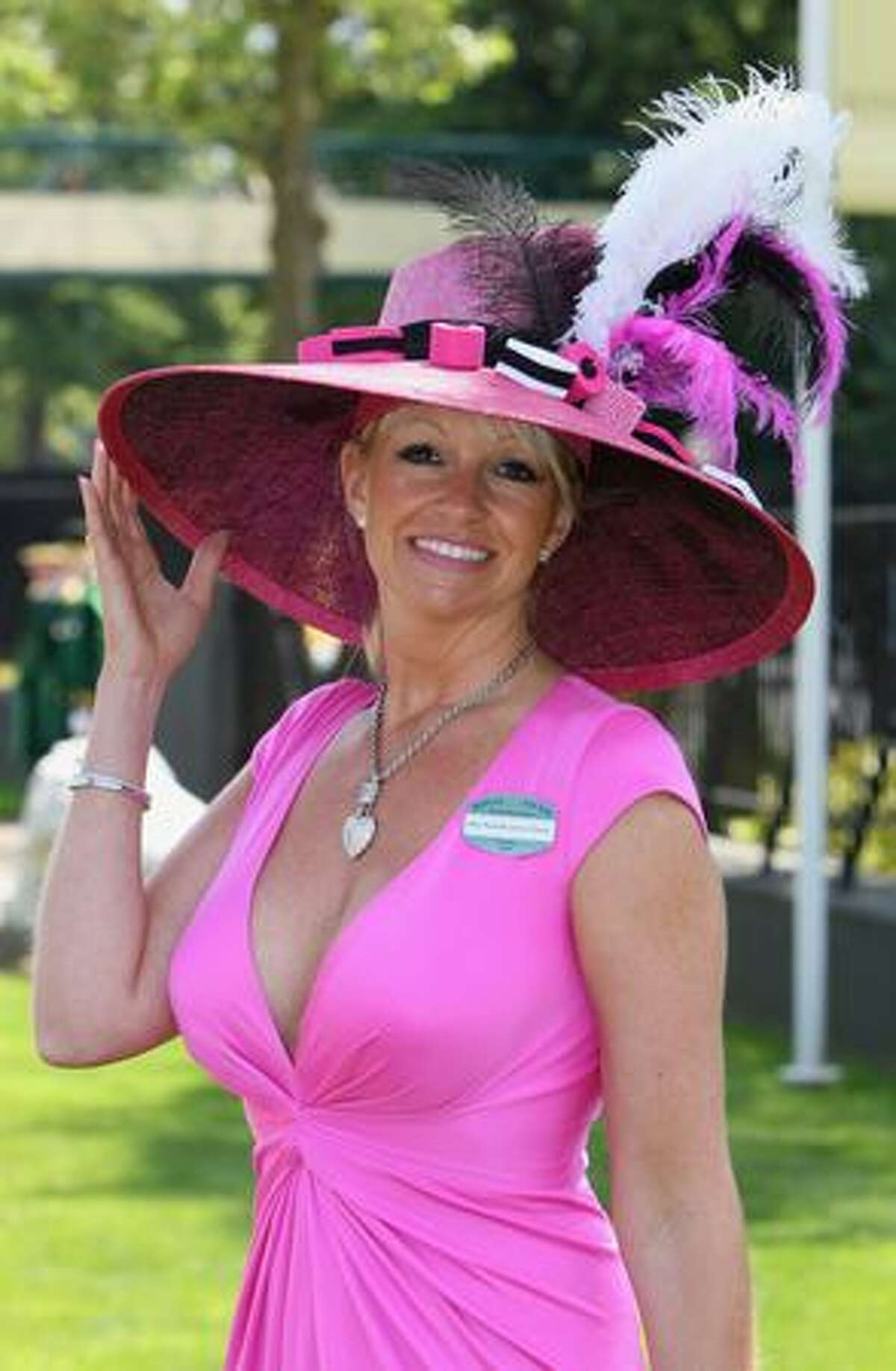 Daniella James-Fancy poses wearing a liquorice allsort themed hat as she arrives on the first day of Royal Ascot 2009 at Ascot Racecourse in Ascot, England.