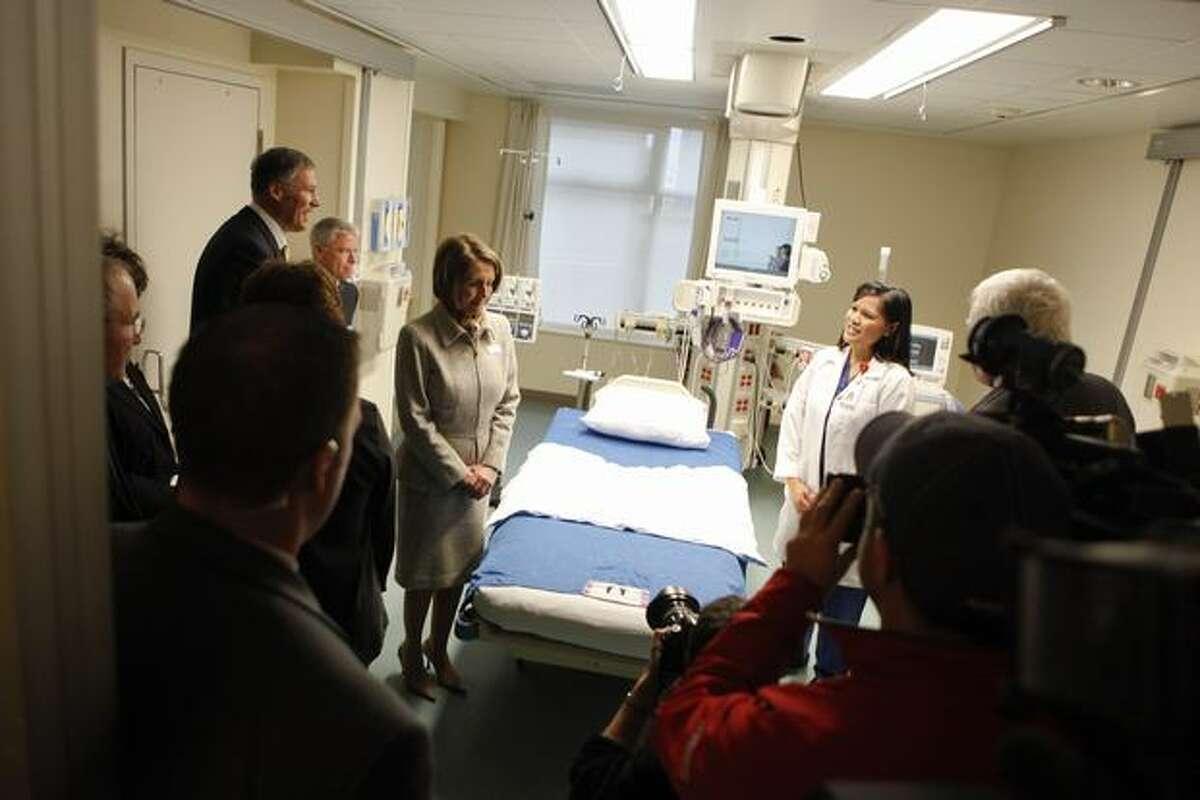 Speaker of the House Nancy Pelosi visits Swedish Hospital on Monday.
