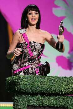 Katy Perry picks up her award for Best International Female at the Brit Awards 2009 held at Earls Court on Feb. 18, 2009 in London. Photo: Getty Images