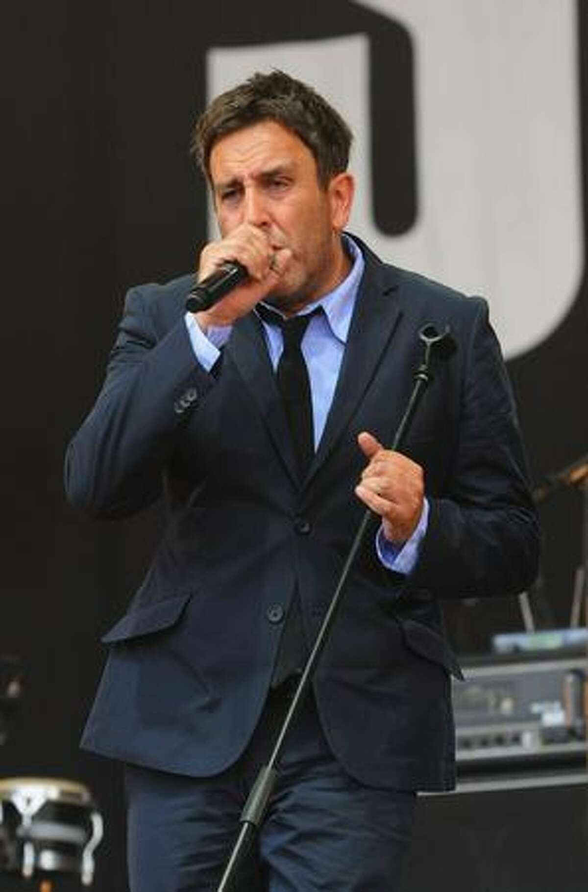 Terry Hall of The Specials performs on the Pyramid Stage during day two of the Glastonbury Festival at Worthy Farm in Pilton in Glastonbury, England.