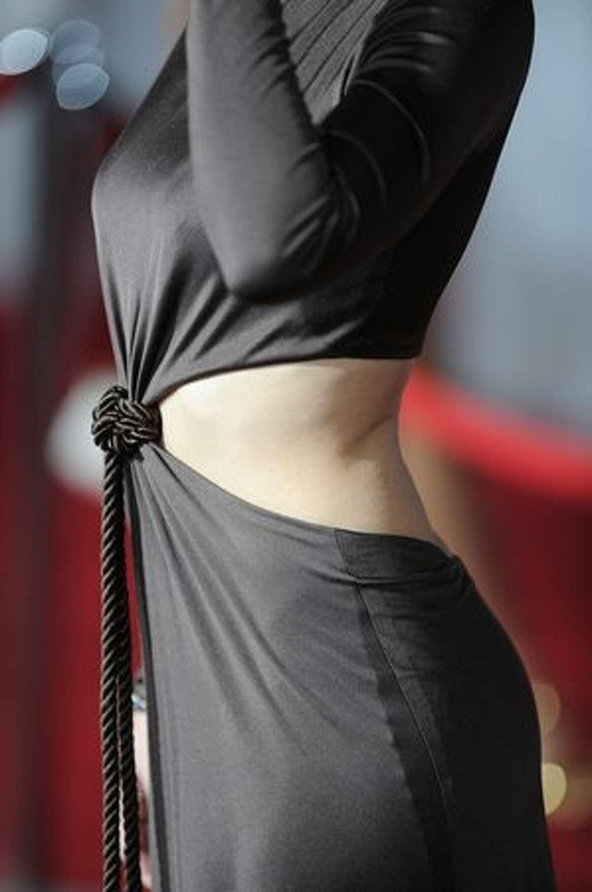 Detail of Kristen Bell's dress, designed by Monique Lhuillier.