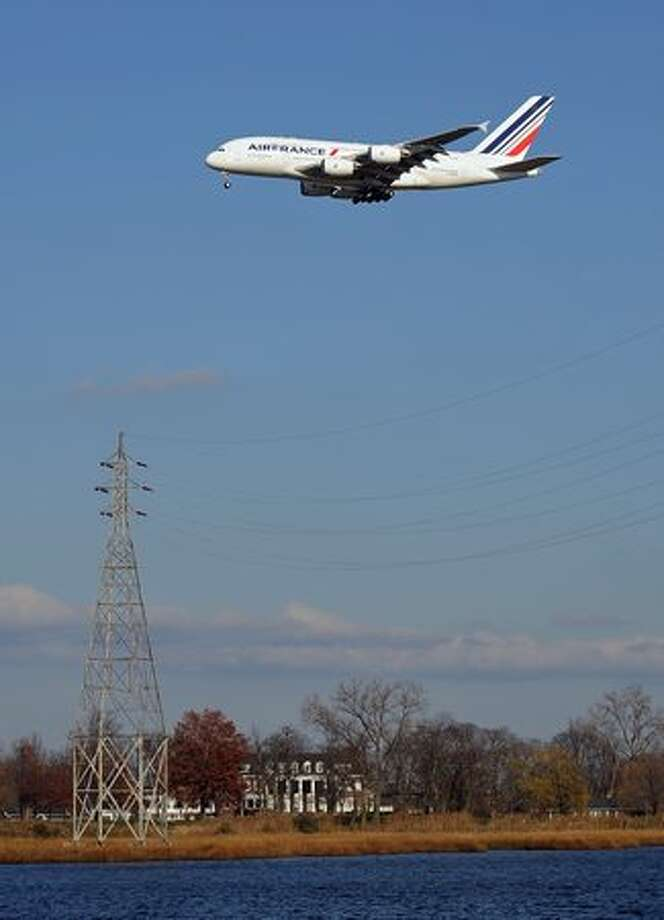 An Air France Airbus A380 plane lands at John F. Kennedy International Airport Nov. 20, 2009 in New York for the first A380 Superjumbo flight on the Paris-Charles de Gaulle to New York-JFK route. Daily flights are scheduled to start on Nov. 23, 2009. Photo: Getty Images