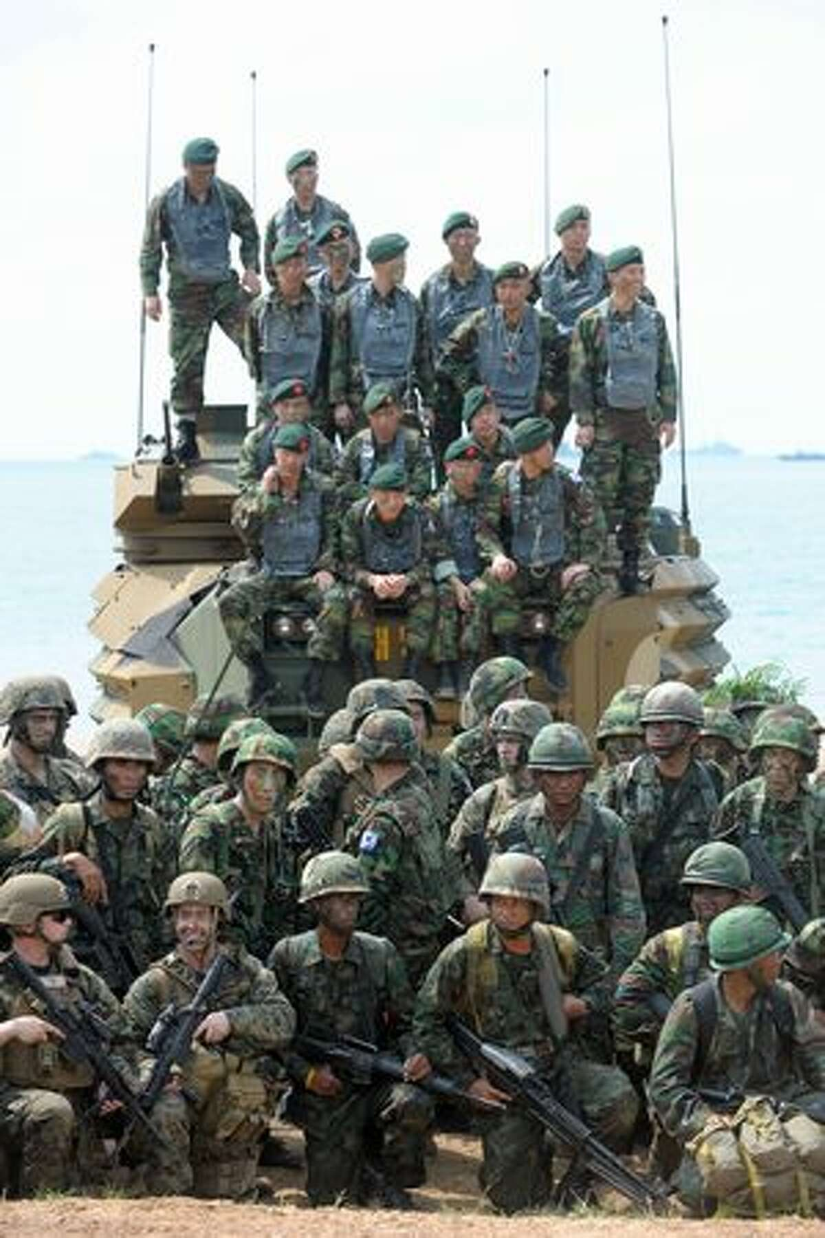 Thai, U.S. and South Korean marines participate in the annual combined military exercise Cobra Gold 2010 at a Navy base in Rayong province, Thailand, on Feb. 4, 2010.