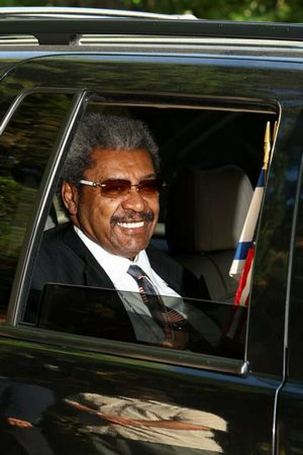 Boxing promoter Don King departs the Jackson family compound for the memorial service for pop singer Michael Jacksonin Encino, California. Photo: Getty Images