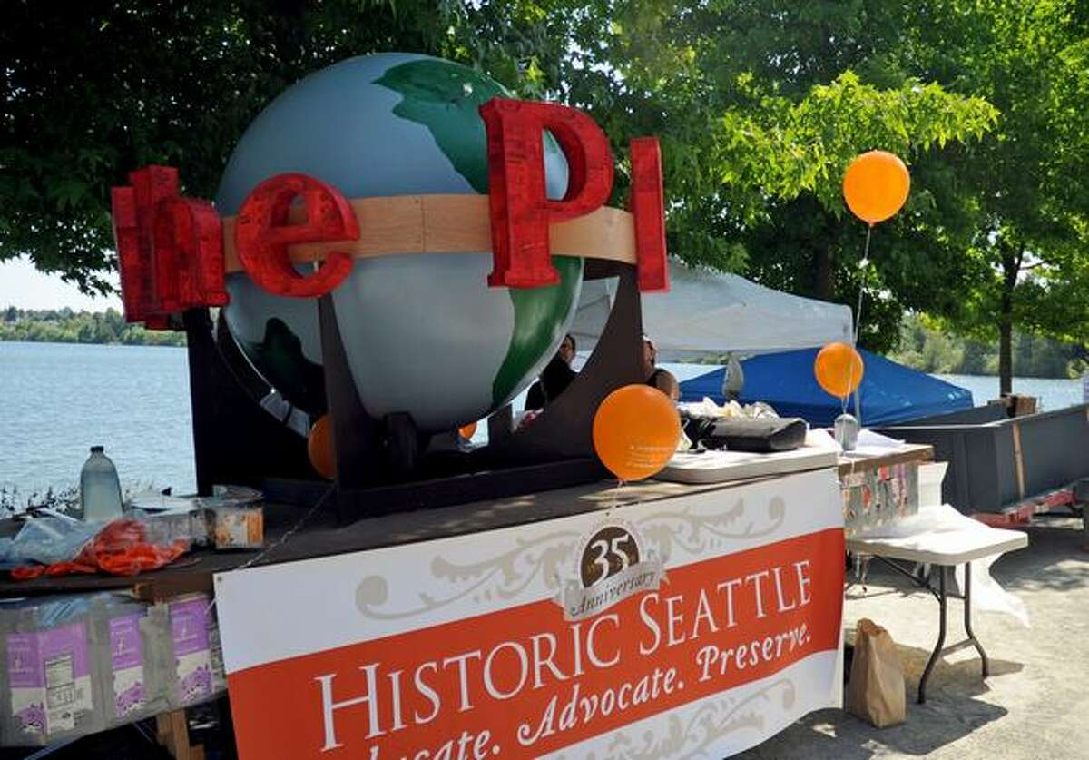 Historic Seattle's entry in the Seafair Milk Carton Derby featured the familiar P-I globe.