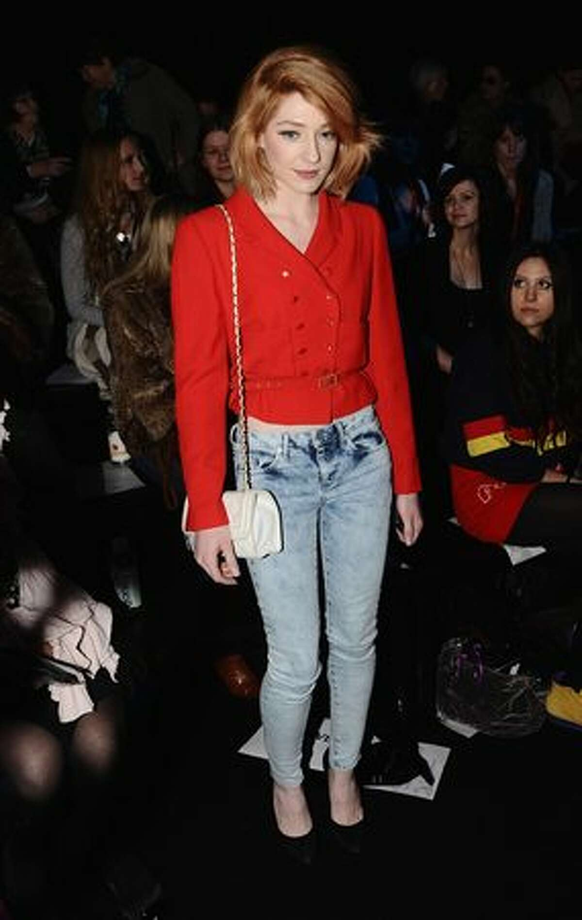 Nicola Roberts attends the Jena.Theo Fashion Show as part of London Fashion Week at Somerset House in London, England.