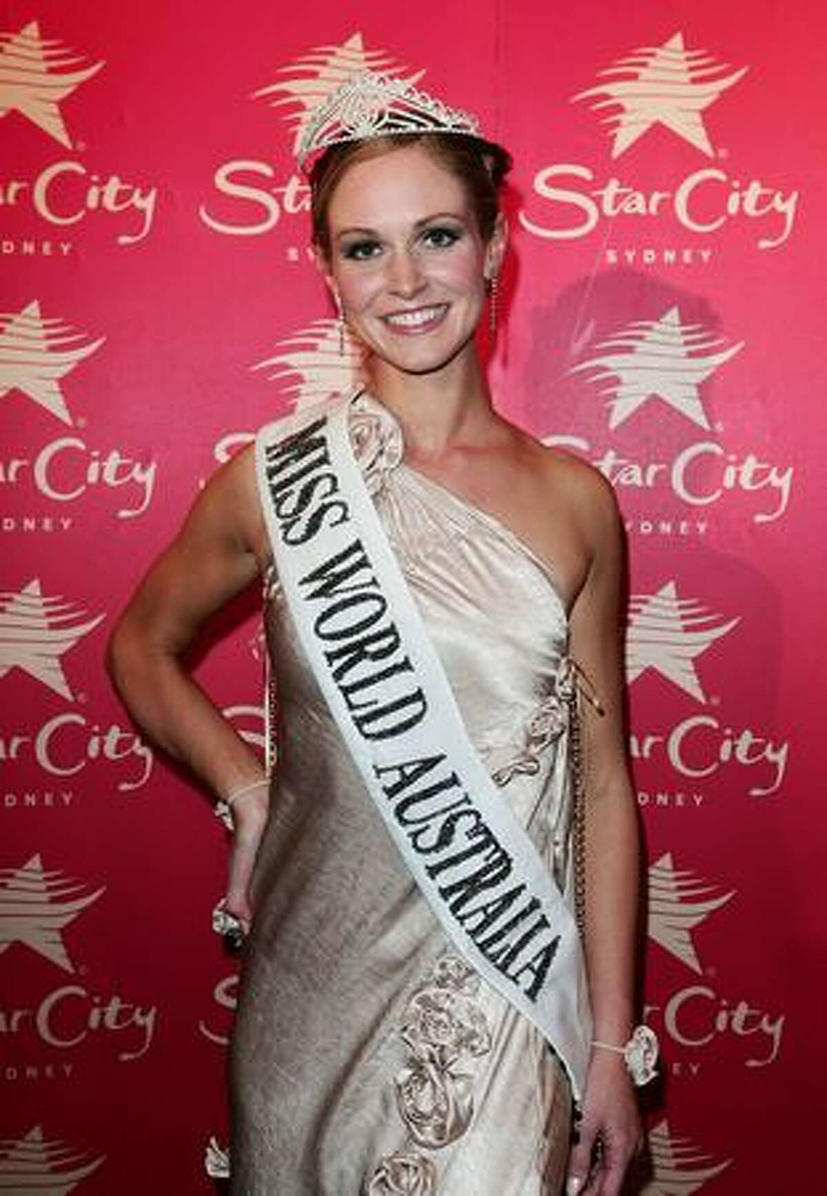 Winner of 2009 Miss World Australia Sophie Laver poses at the ceremony at Star City in Sydney, Australia.