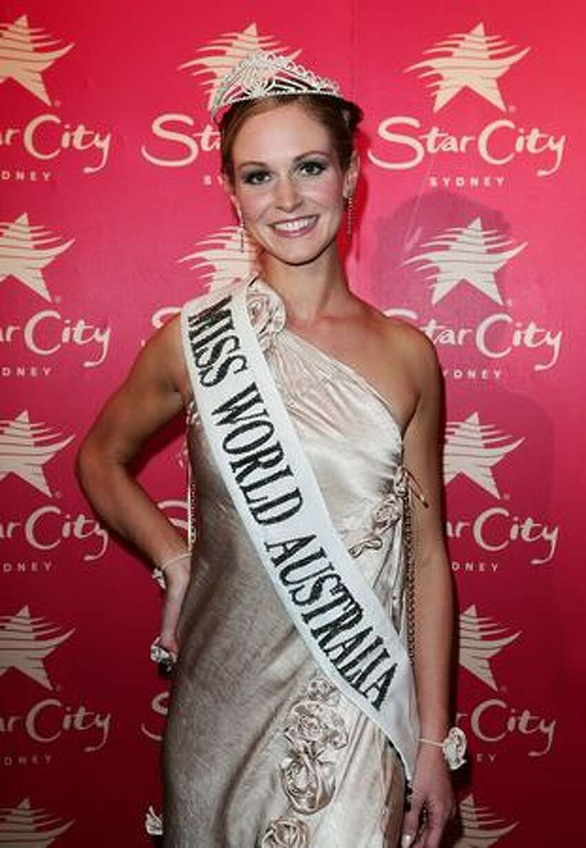 Winner of 2009 Miss World Australia Sophie Laver poses at the ceremony at Star City in Sydney, Australia.