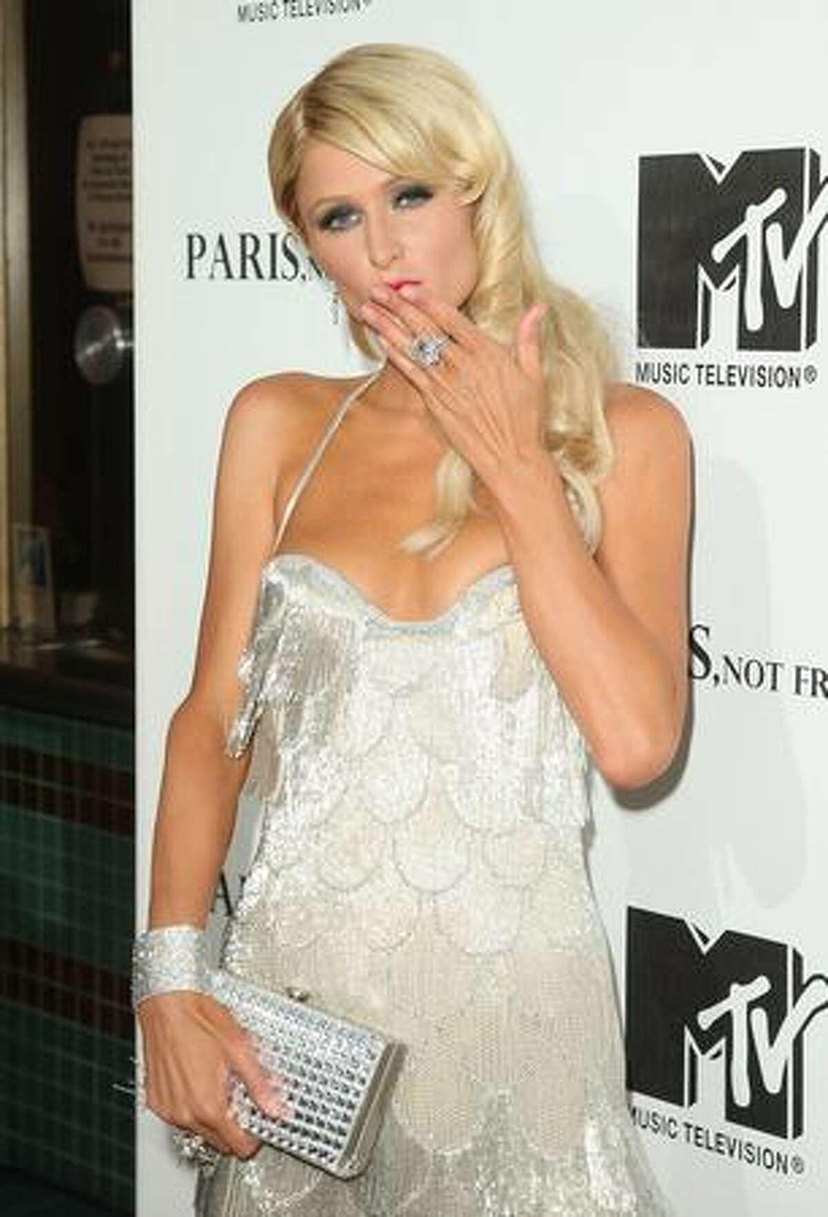 Socialite Paris Hilton arrives at the MTV screening of