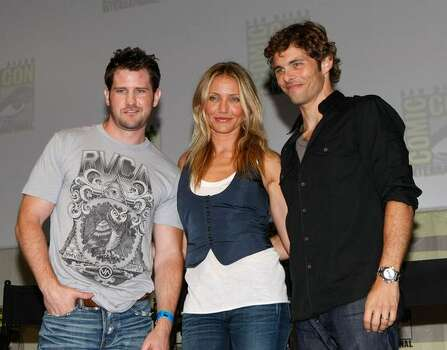 "SAN DIEGO - JULY 24: (L-R) Director Richard Kelly, actress Cameron Diaz and actor James Marsden speaks during a panel discussion for ""The Box"" at Comic-Con 2009 held at San Diego Convention Center on July 24, 2009 in San Diego, California. Photo: Getty Images"
