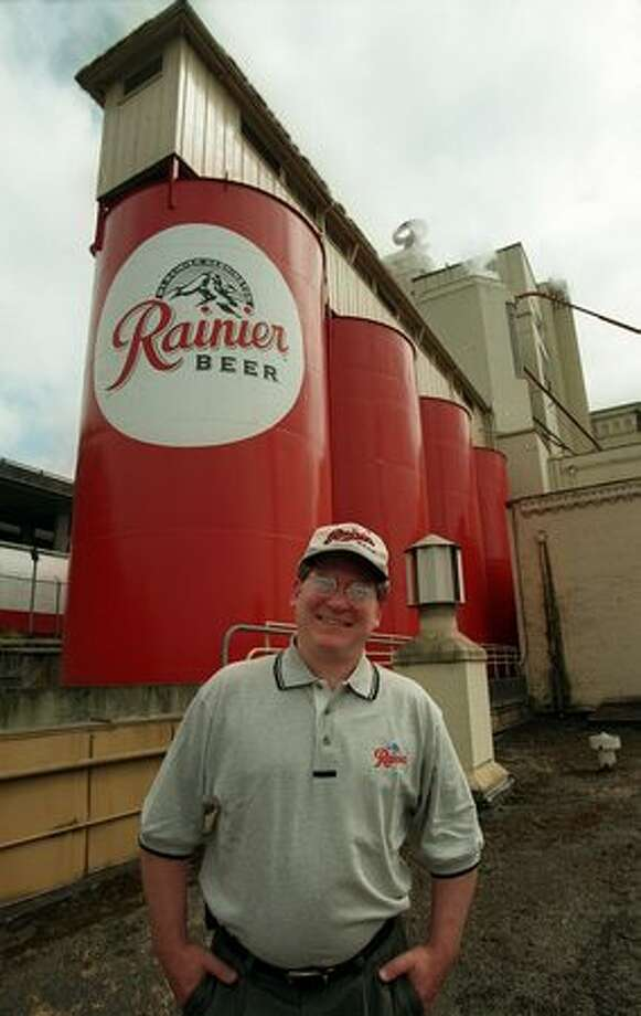The May 1998 photo caption read: Joe Thorner, Master Brewer at Rainier Beer, in front of the holding tanks at the plant on Airport Way. Rainier Brewing and it's corporate parent Stroh are making more than a half million dollars of investment in the Airport Way brewery to handle contract and specialty brewing. Photo: P-I File