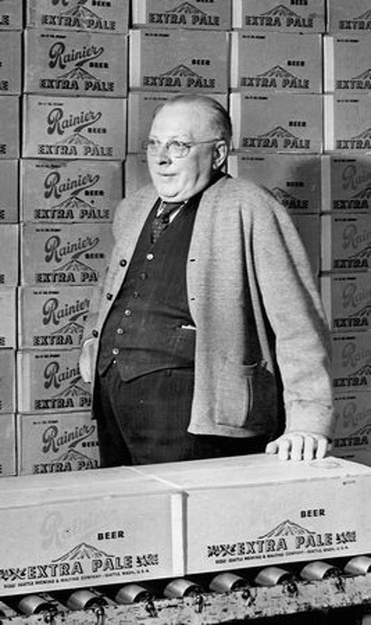 Ernest Beley, bottle shop superintendent, packaged Rainier Extra Pale, August 1949.