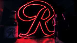"Rainier neon ""R"" shown at MOHAI."