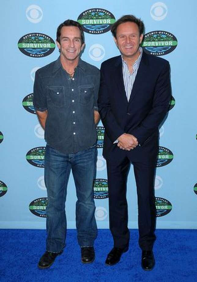 "Host Jeff Probst and series creator/executive producer Mark Burnett arrive at the CBS ""Survivor"" 10-year anniversary party in Los Angeles on Saturday, Jan. 9, 2010. The majority of the hit reality series' 301 cast members were in attendance. Photo: Getty Images"