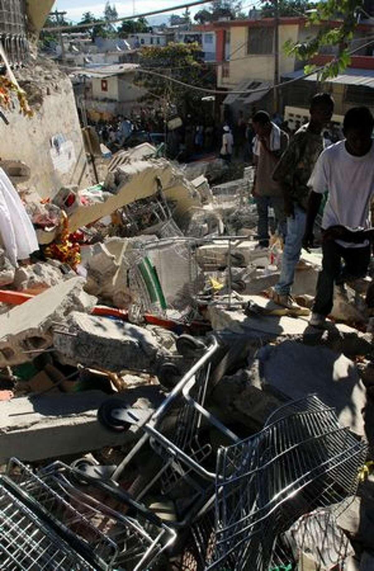 Debris litters a street in Port-au-Prince, Haiti.
