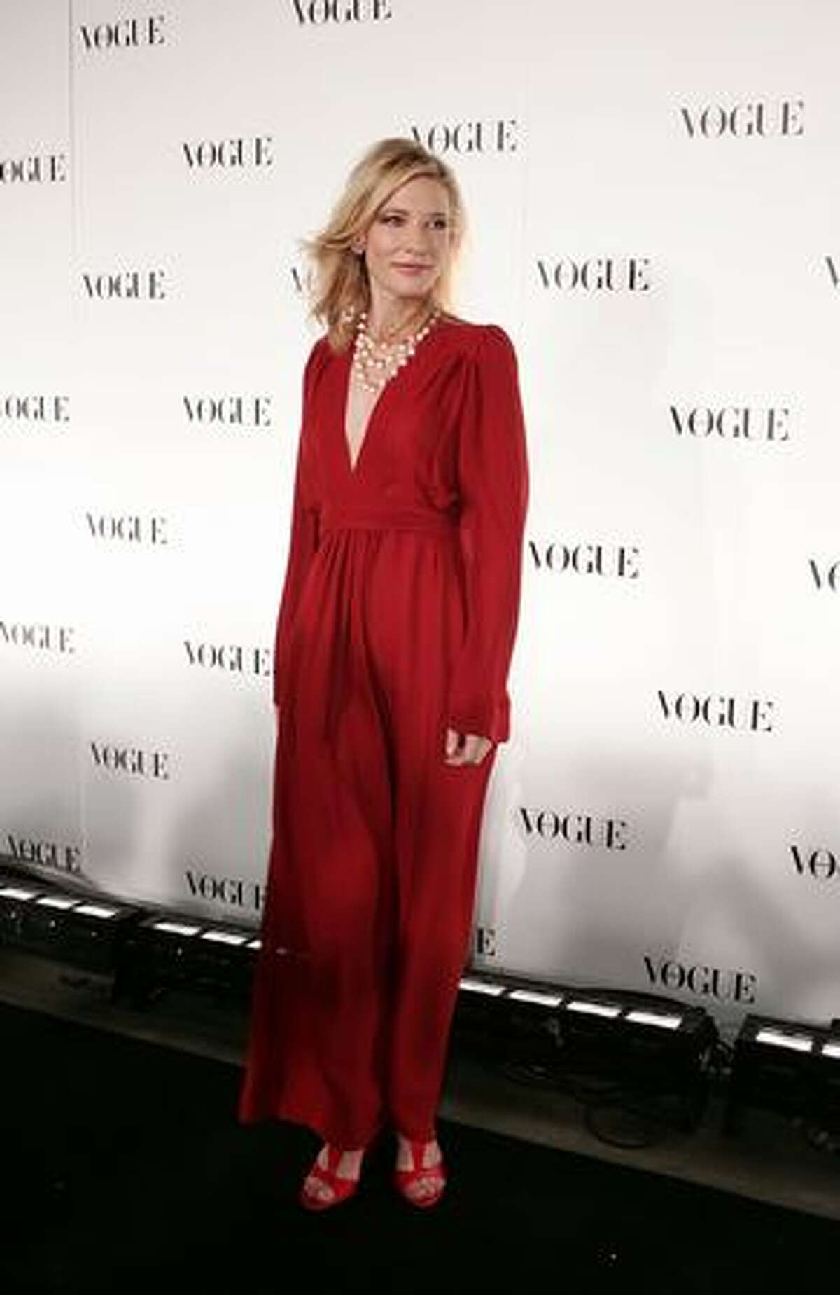 Cate Blanchett arrives for Vogue Australia's 50th Anniversary Party at Fox Studios in Sydney, Australia.