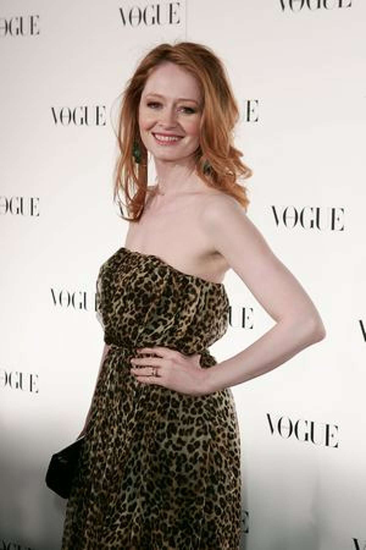 Actress Miranda Otto arrives for Vogue Australia's 50th Anniversary Party at Fox Studios in Sydney, Australia.