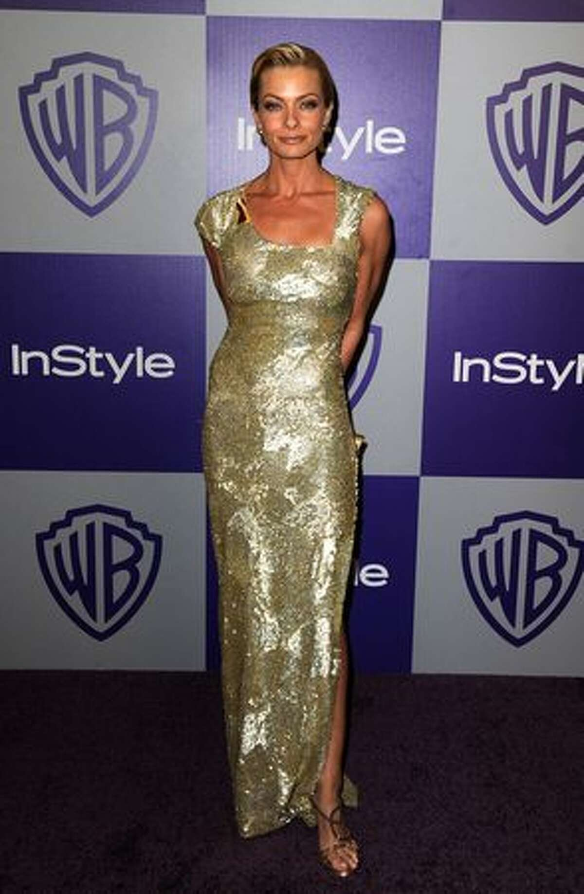 Actress Jaime Pressly arrives at the InStyle and Warner Bros. 67th Annual Golden Globes after party held at the Oasis Courtyard at The Beverly Hilton Hotel.