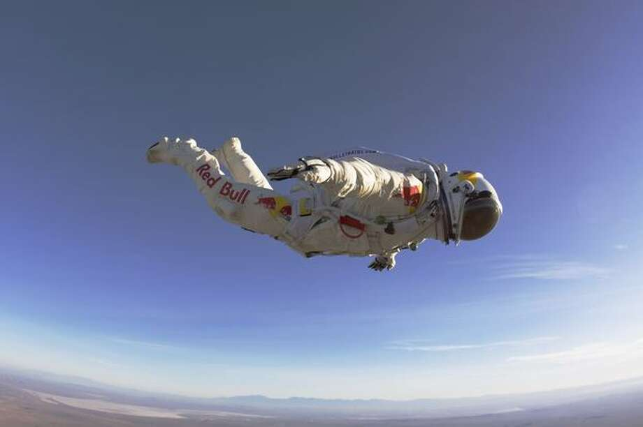 Felix Baumgartner makes an initial Red Bull Stratos suit jump from California City Airport in 2010.