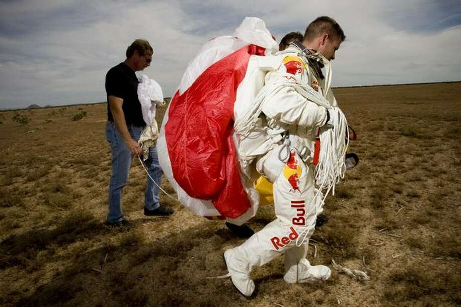 Felix Baumgartner walks away after an initial Red Bull Stratos suit jump from California City Airport in 2010.