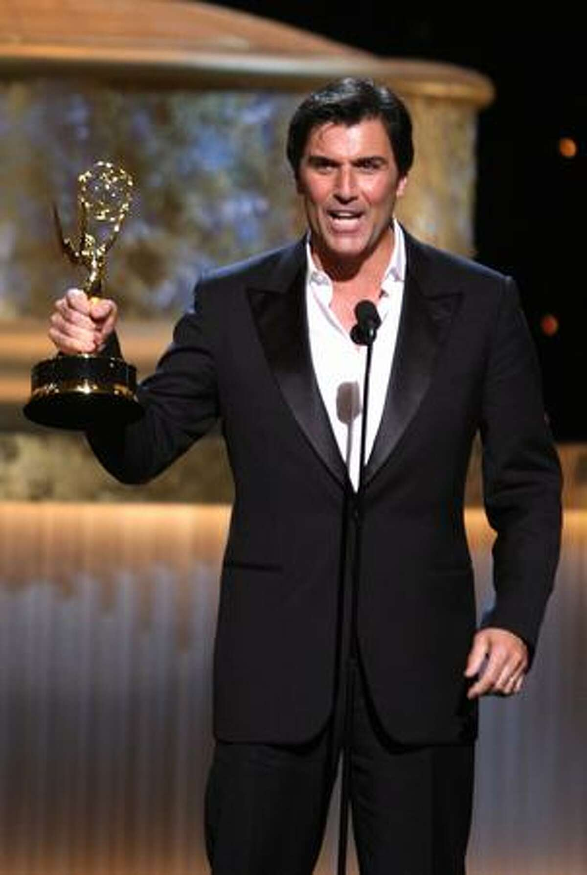 Actor Vincent Irizarry accepts the Emmy for Outstanding Supporting Actor in a Drama Series during the 36th Annual Daytime Emmy Awards at The Orpheum Theatre on Sunday in Los Angeles, Calif.