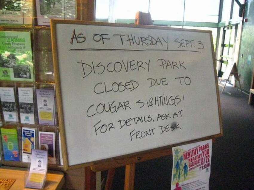 A sign at the Discovery Park Visitors Center noted the third park closure since 1972.