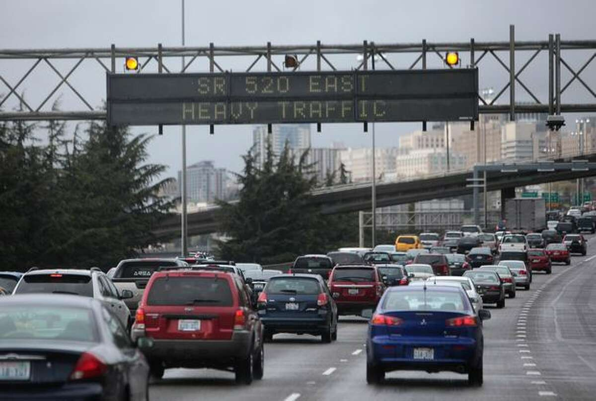 Traffic is backed up on Interstate 5 because of winds blowing across the 520 floating bridge on Friday April 2, 2010.