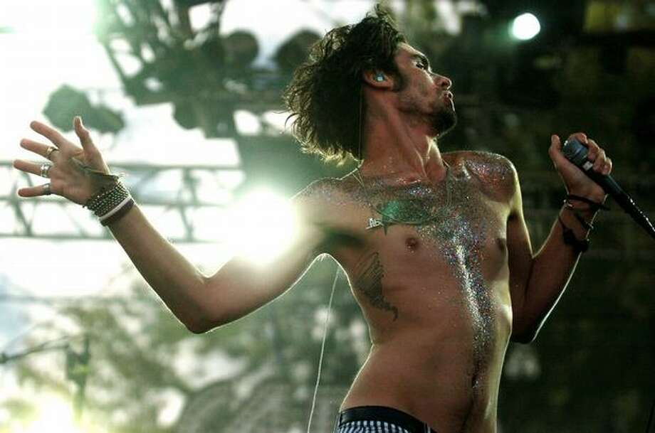 Tyson Ritter of the All-American Rejects performs on the Samsung Mainstage on day 1 of Bumbershoot Saturday in Seattle. Photo: Daniel Berman, Seattlepi.com