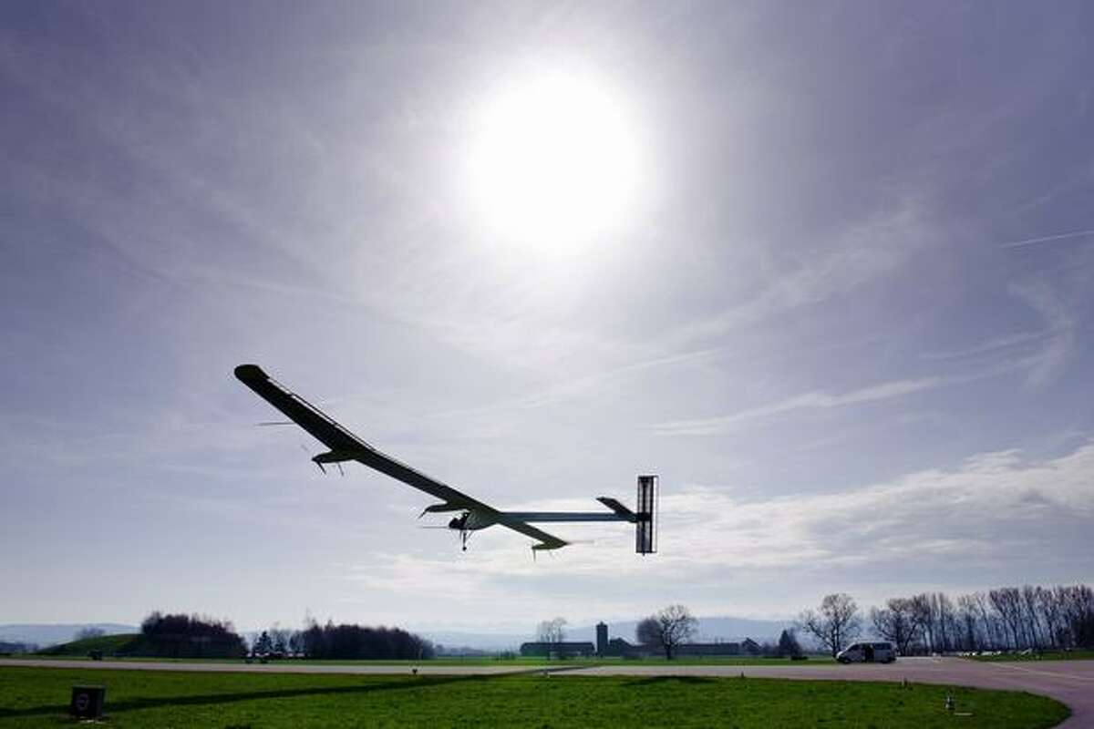 The Solar Impulse aircraft takes off on its first test flight on April 7, 2010 from Payerne's air base, western Switzerland.