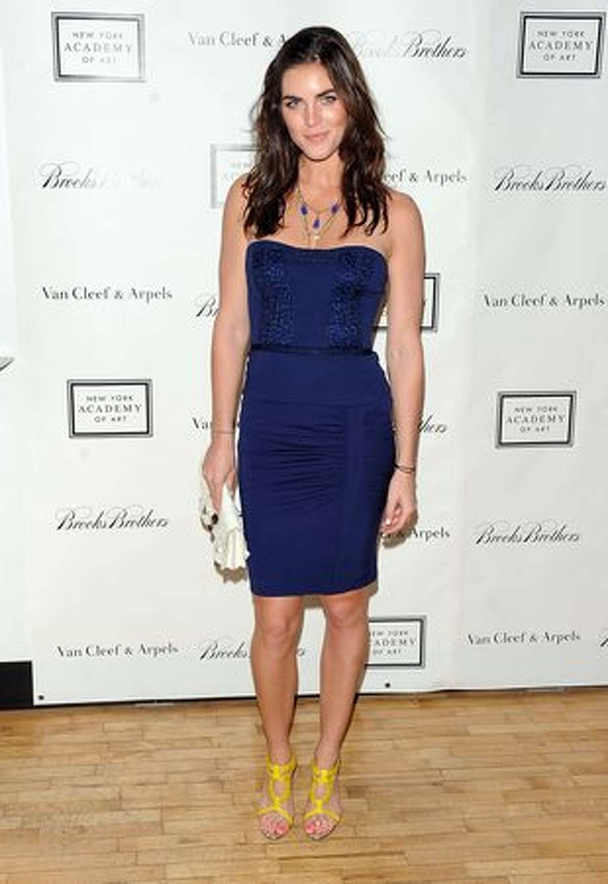 Model Hilary Rhoda walks the red carpet during the 2010 Tribeca Ball at the New York Academy of Art in New York City.