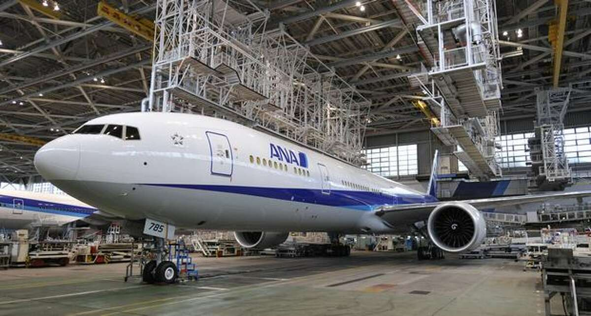 Japan's All Nippon Airways displays its new Boeing 777-300ER during a press preview at an ANA hangar in Narita International Airport, suburban Tokyo on April 16, 2010. The new aircraft is scheduled to commence flights from April 19 on the Narita-New York route.